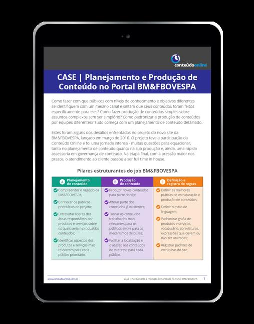 Conteúdo Online - [Case] Planejamento e Produção de Conteúdo no Portal BM&FBOVESPA