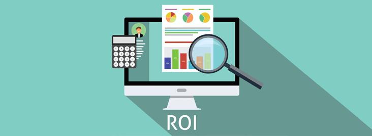 Elementos representando o cálculo do ROI de uma estratégia digital usando produção de conteúdos.