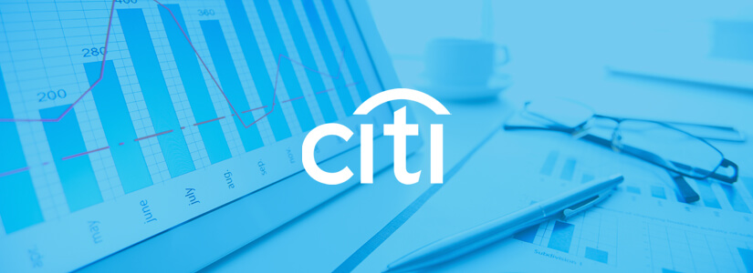 Imagem da logo do Citi sobre tela de computador para ilustrar o relato do trabalho que a Conteúdo Online realizou para o banco e os resultados alcançados com soluções de marketing de conteúdo e UX.