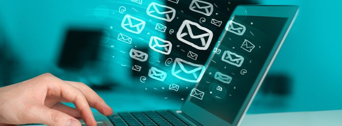 Ilustração que representa envio de e-mails, uma das ferramentas presentes no relacionamento com a base de leads - Conteúdo Online
